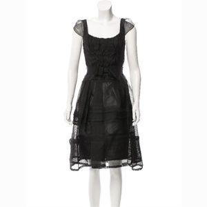 Carolina Herrera Black Silk Mesh Dress Size 4 B4